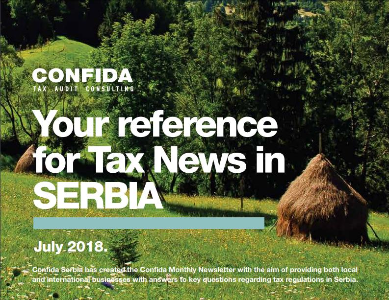 Mesečne poreske za Srbiju vesti Jul 2018