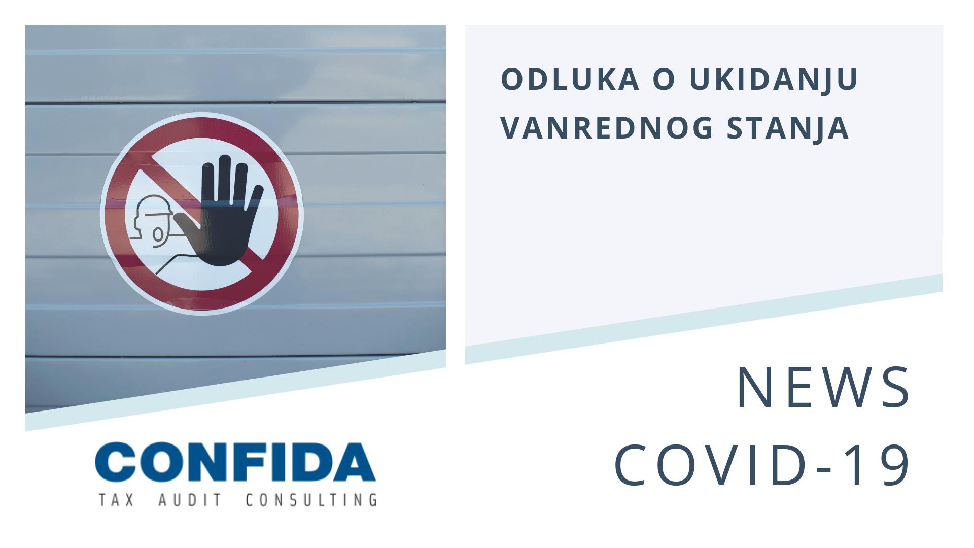 Odluka o ukidanju vanrednog stanja usled COVID-19