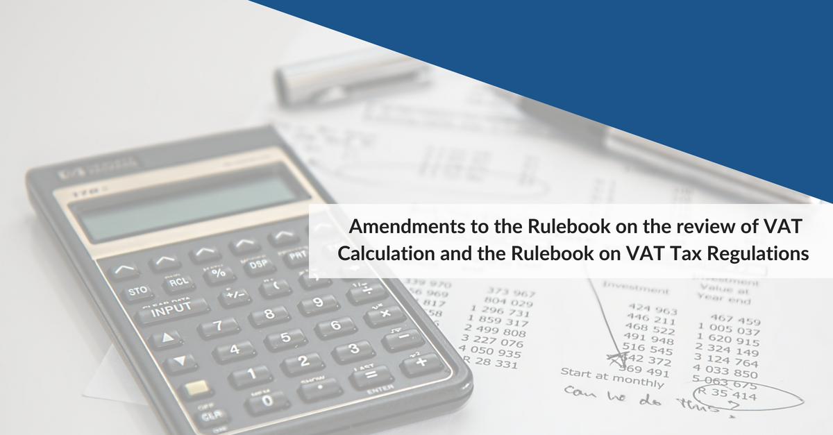 New VAT Rulebook Amendments