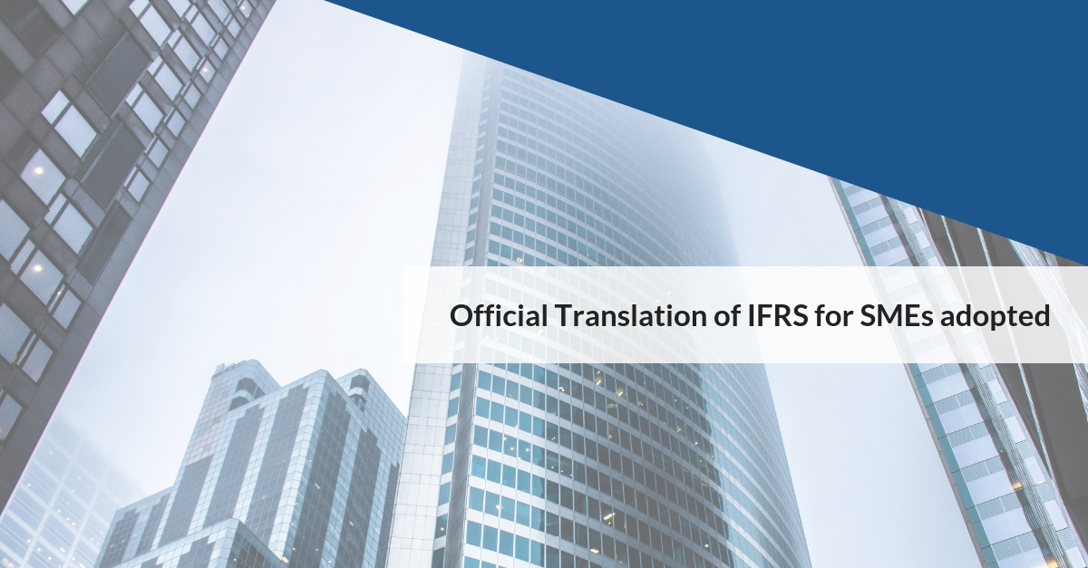 Official Translation of IFRS for SMEs adopted