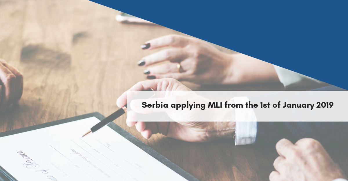 Serbia applying MLI from the 1st of January 2019