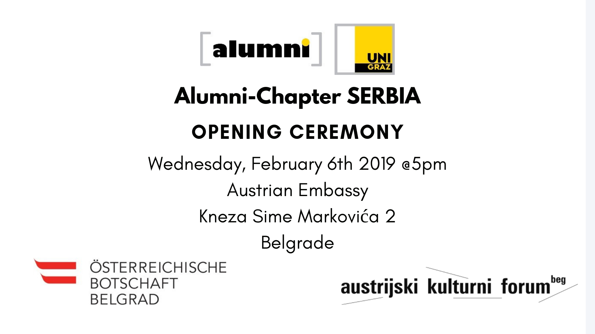 Opening Ceremony of the Uni Graz Alumni – Chapter Serbia