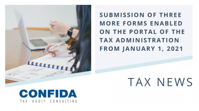 Submission of three more forms enabled on the portal of the Tax Administration from January 1, 2021