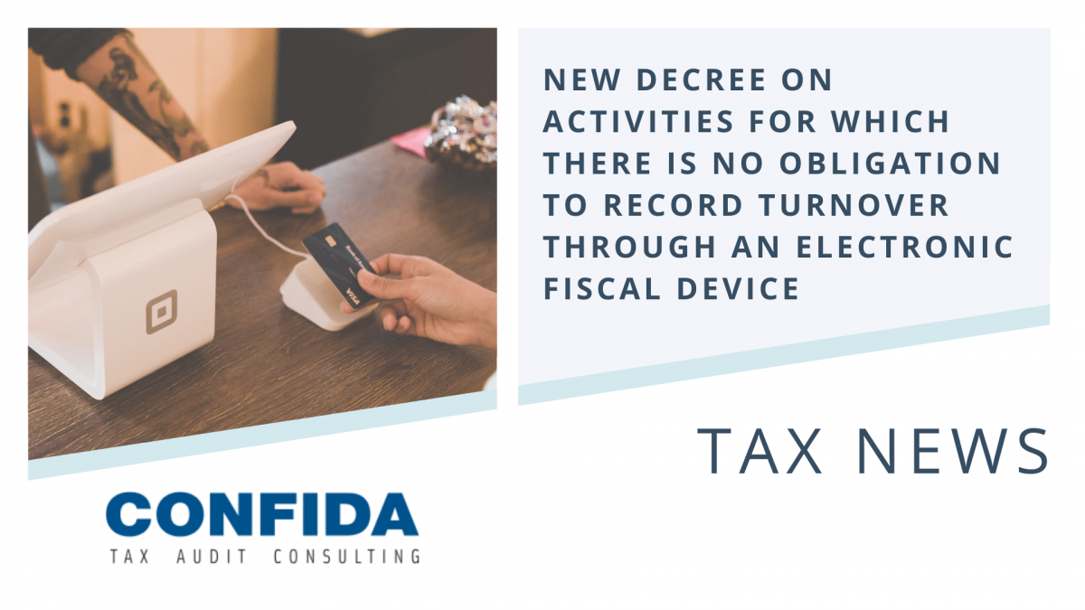 New Decree on Activities for which there is no Obligation to Record Turnover through an Electronic Fiscal Device